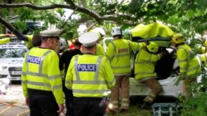 Police at scene of road traffic accident