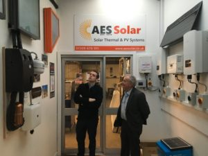 George Goudsmit shows Douglass Ross, the internal working of solar power