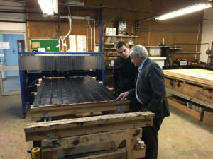 Douglas with AES Solar managing director George Goudsmit during the visit to the Forres-based business.