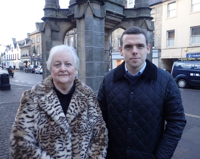 Douglas Ross MP with Forres Community Councillor, Mrs Eleanor Hayward