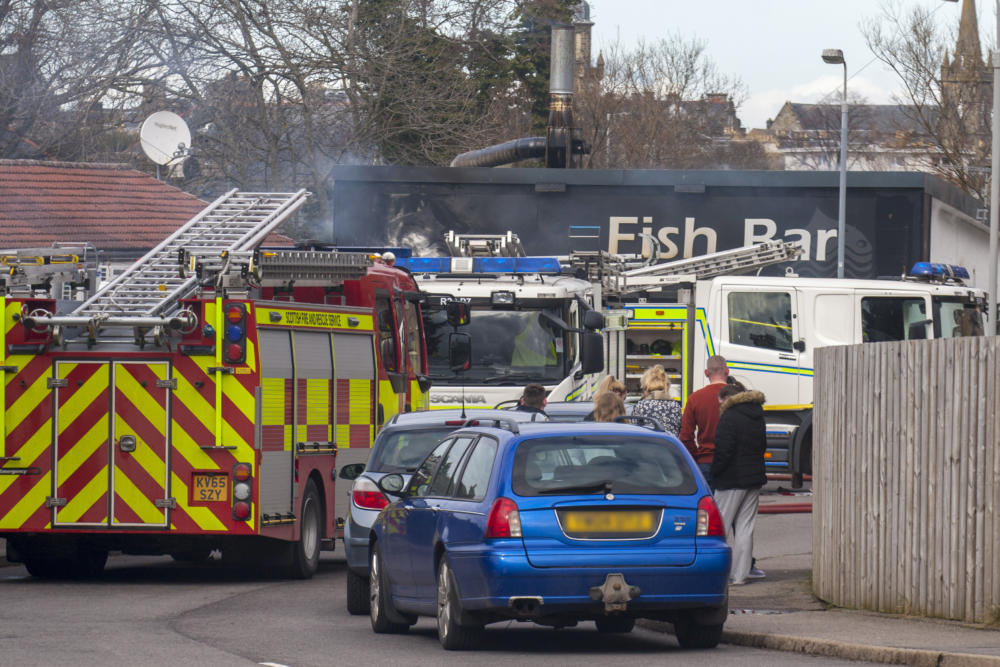 Fire destroyed the Forres Fish Bar a year ago. Pic: Marc Hindley