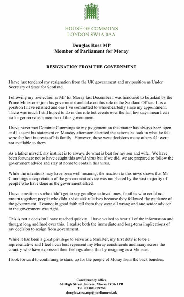 Douglas Ross resignation