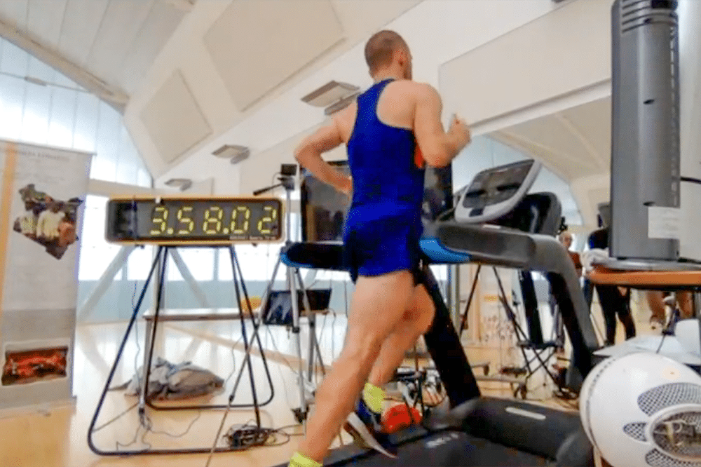 Live – Kyle nears the four-hour mark as his world record attempt to run the most miles on a treadmill in 24 hours is streamed live on Twitch.