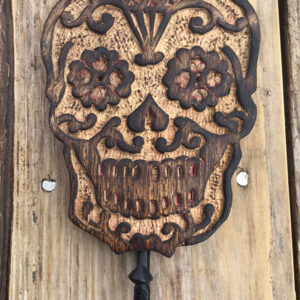 Sugar Skull hand carved wooden hook £7.50